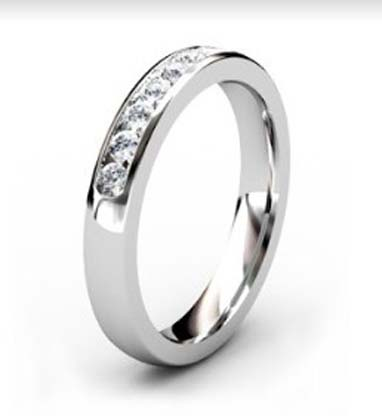 Channel Set Diamond Half Wedding Band 2