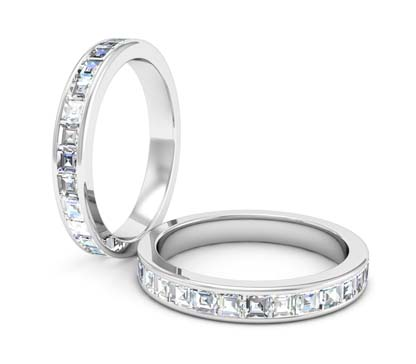 Channel set Carre cut diamond ring 1