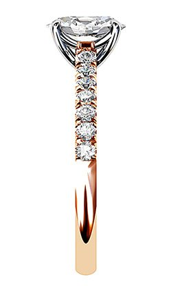 Clasic Oval and Diamond Solitaire Set in Rose Gold 5 2