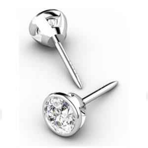 Classic Bezel Set Diamond Stud Earrings 1 1 2