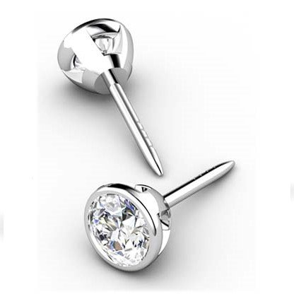 Classic Bezel Set Diamond Stud Earrings 1 1 2