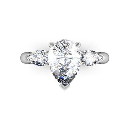 Classic Design Pear Shaped Three Stone Diamond Engagement Ring 2 2