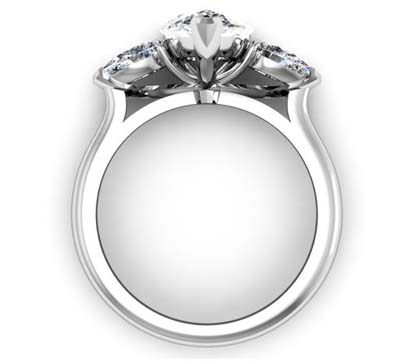 Classic Design Pear Shaped Three Stone Diamond Engagement Ring 3 2