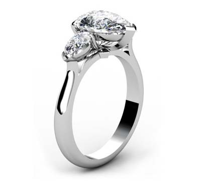 Classic Design Pear Shaped Three Stone Diamond Engagement Ring 4 2