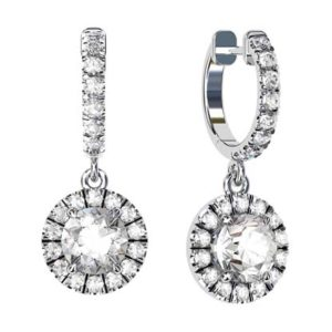 Clip on Round Brilliant Cut Diamond Earrings 1 2