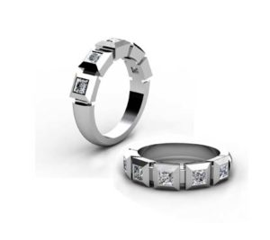 Contempory five stone princess cut diamond band 1