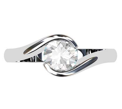 Cross Over Round Bezel Set Engagement Ring 2 2
