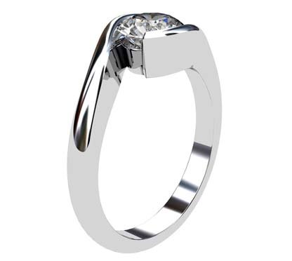 Cross Over Round Bezel Set Engagement Ring 4 2