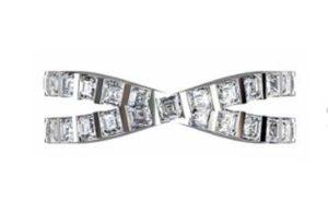 Cross over carre cut diamond ring 2