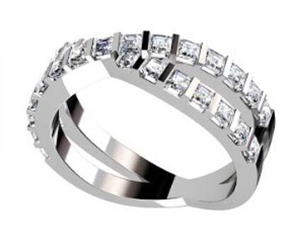 Cross over carre cut diamond ring 4