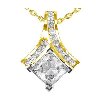 Crossover Princess Cut Diamond Pendant 1 1