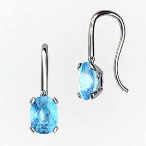 Cushion Cut Aquamarine Drop Earrings 1 2