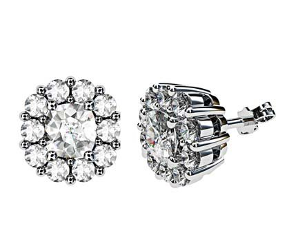 Cushion Cut Diamond Cluster Stud Earrings 1 2