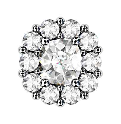 Cushion Cut Diamond Cluster Stud Earrings 2 2