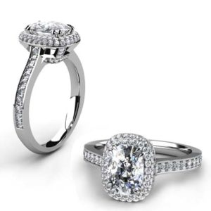 Cushion Cut Diamond Double Halo Engagement Ring 1 2