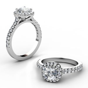 Cushion Cut Diamond Engagement Ring with Cut Down Diamond Band 1 2