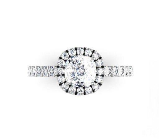 Cushion Cut Diamond Engagement Ring with Cut Down Diamond Band 2 2