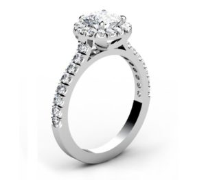 Cushion Cut Diamond Engagement Ring with Cut Down Diamond Band 4 2