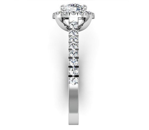 Cushion Cut Diamond Engagement Ring with Cut Down Diamond Band 5 2