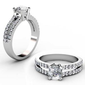 Cushion Cut Diamond Engagement Ring with Diamond Split Shank 1 2