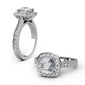 Cushion Cut Diamond Halo Engagement Ring 1 2