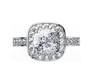 Cushion Cut Diamond Halo Engagement Ring 2 2