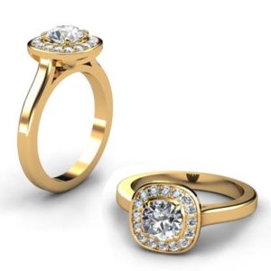 Cushion Cut Diamond Halo Engagement Ring in Yellow Gold Finish 1 2