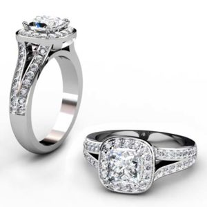 Cushion Cut Diamond Halo Engagement Ring with Split Bands 1 2