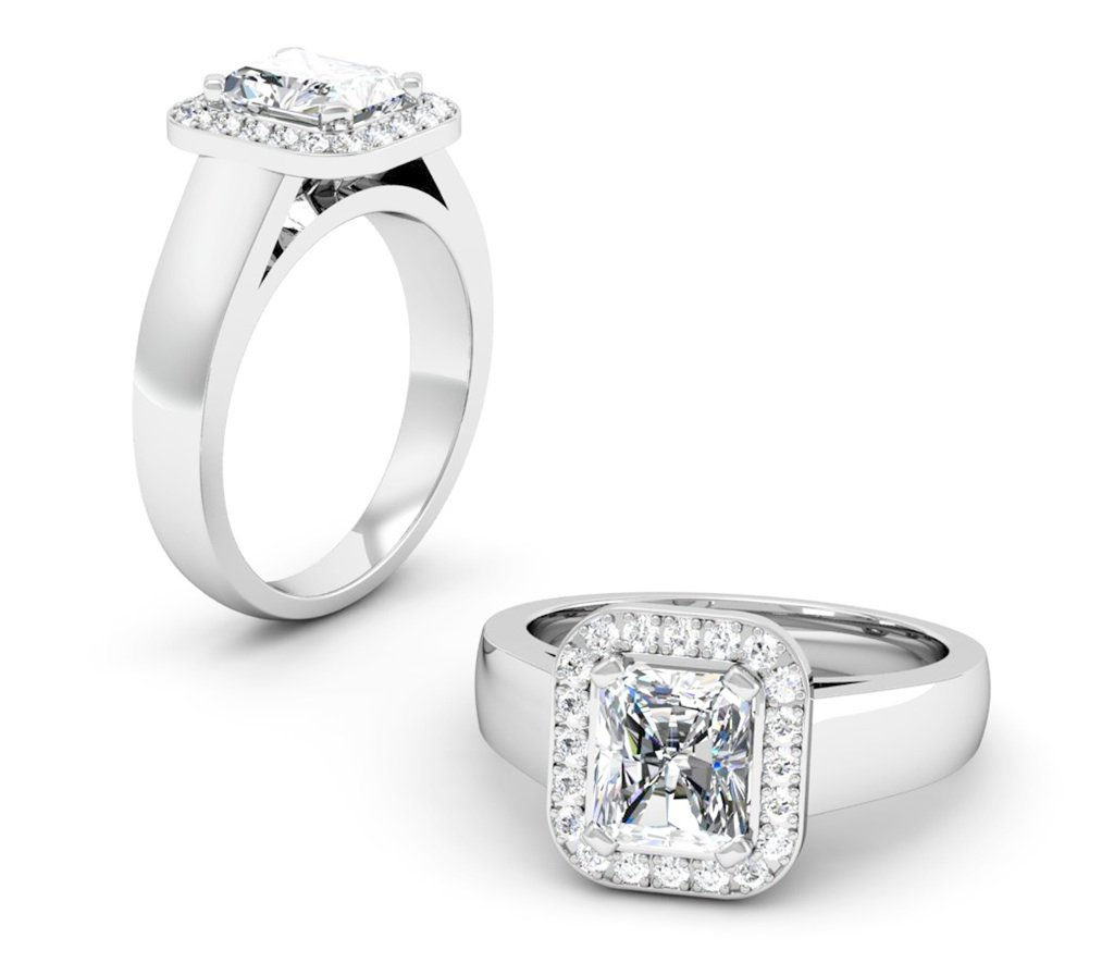 Cushion Cut Diamond Halo Engagement Ring With Wide Band