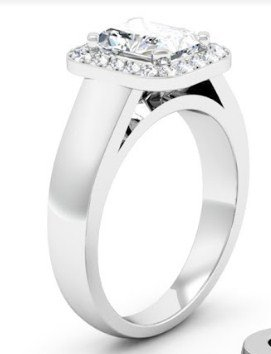 Cushion Cut Diamond Halo Engagement Ring with Wide Band 2 2