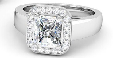 Cushion Cut Diamond Halo Engagement Ring with Wide Band 3 2