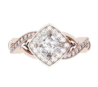 Cushion Cut Diamond Halo Rose Gold Engagement Ring with Infinity Band 2 2