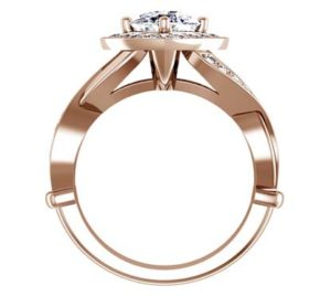 Cushion Cut Diamond Halo Rose Gold Engagement Ring with Infinity Band 3 2