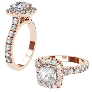 Cushion Cut Diamond Rose Gold Halo Engagement Ring 1 2
