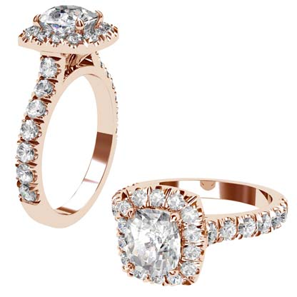 Cushion Cut Diamond Rose Gold Halo Engagement Ring