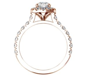 Cushion Cut Diamond Rose Gold Halo Engagement Ring 3 2