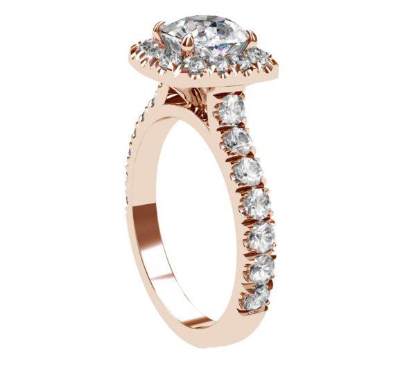 Cushion Cut Diamond Rose Gold Halo Engagement Ring 4 2