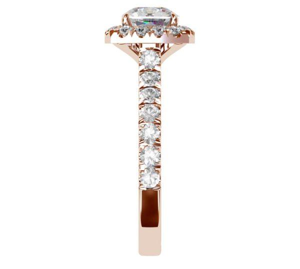 Cushion Cut Diamond Rose Gold Halo Engagement Ring 5 2