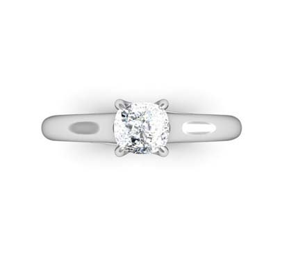 Cushion Cut Diamond Solitaire Engagement Ring with Crossed Claws 2 2
