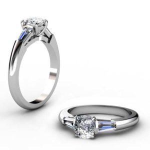 Cushion Cut Diamond Three Stone Engagement Ring 1 2