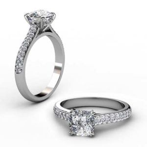 Cushion Cut Micro Pave Diamond Engagement Ring with Diamond Encrusted Basket 1 2