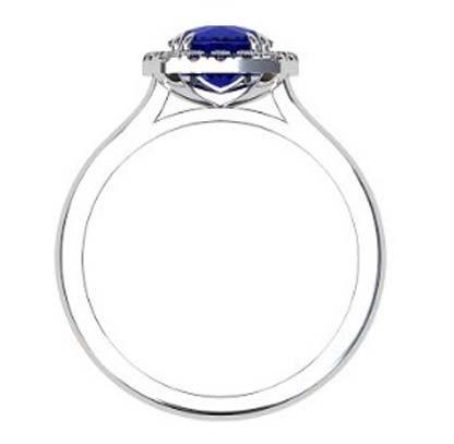Cushion Cut Sapphire Halo Engagement Ring 3 1 2