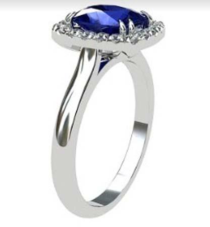 Cushion Cut Sapphire Halo Engagement Ring 4 1 2
