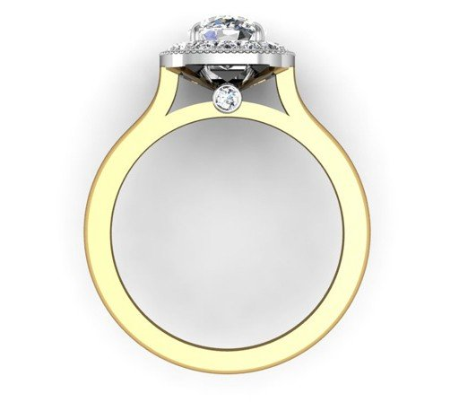 Cushion Cut Yellow Gold Halo Engagement Ring 3 2