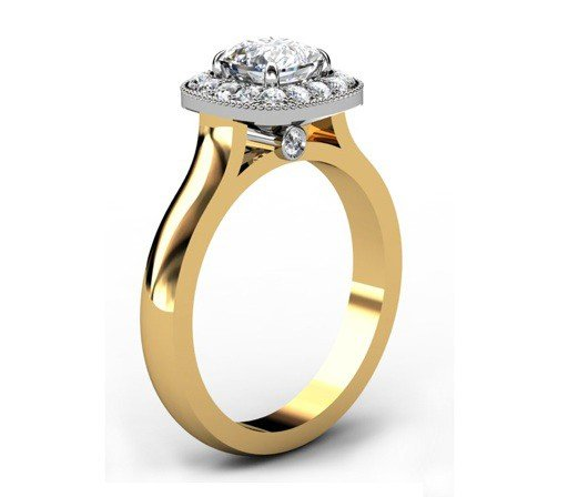 Cushion Cut Yellow Gold Halo Engagement Ring 4 2