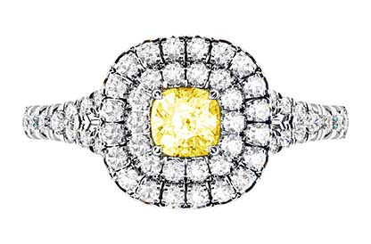 Cushion Yellow Diamond Ring with Double Halo 2 2