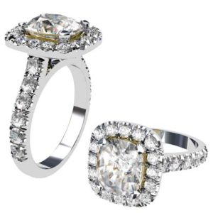 Custom Made 2.5 Ct Cushion Cut Diamond Halo Engagement Ring 1 2