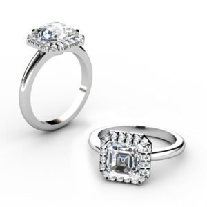 Custom Made Asscher Cut Halo Diamond Engagement Ring 1 2