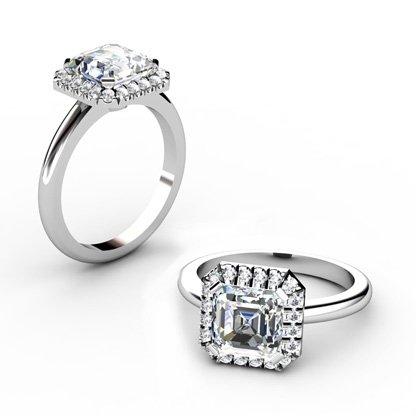 Custom Made Asscher Cut Halo Diamond Engagement Ring 1 2