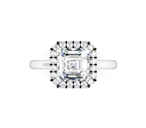 Custom Made Asscher Cut Halo Diamond Engagement Ring 2 2